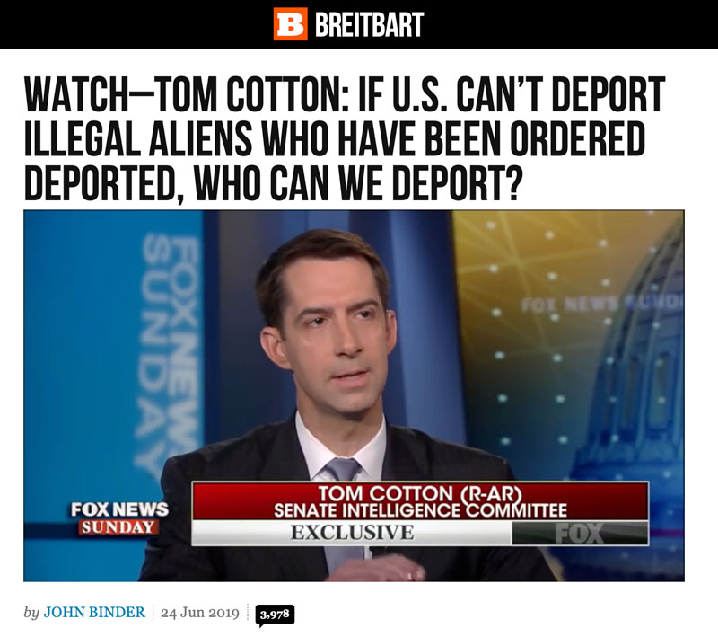 Latest News Illegal Immigrants: Tom Cotton: If U.S. Can't Deport Illegal Aliens Who Have