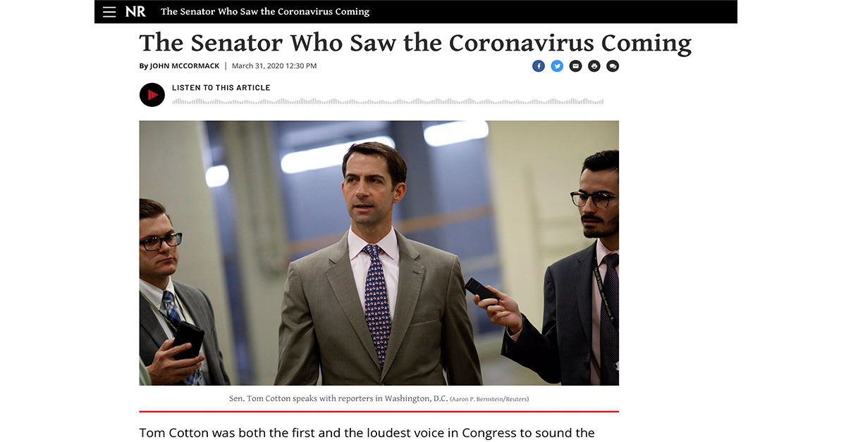The Senator Who Saw the Coronavirus Coming